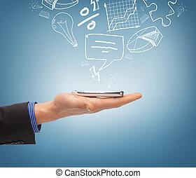 mano, smartphone, presa a terra, icone