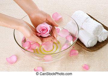 mano, spa., manicure, concetto