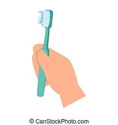 mano, spazzola, dente
