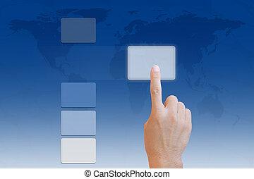 mano, spingere bottone, su, schermo tocco, interfaccia
