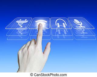mano, spinta, touchscreen, bottone