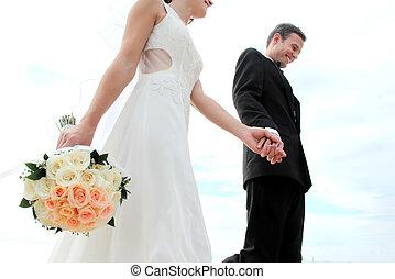 mano, sposa, suo, presa a terra, sposo