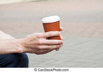 mano., suo, tazza disponibile