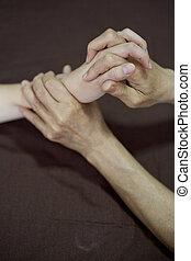 mano, tailandese, massaggio, in, il, terme giorno