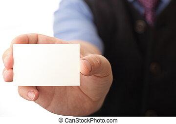 mano, tarjeta, empresa / negocio, blanco