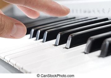 mano, tocar la música, en, el, piano