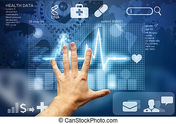 mano tocar la pantalla, con, médico, datos