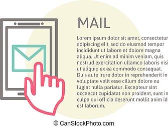 mano, toccante, far male, telefono, con, email, simbolo, su, il, screen., usando, smartphone
