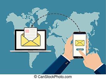 mano, toccante, far male, telefono, con, invio, email, simbolo, su, laptop., nuovo, message., nuovo, email., appartamento, vettore, illustration.