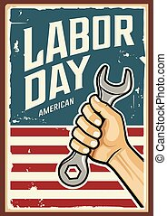 mano, trabajo, diseño, llave inglesa, vector, américa, día, feliz