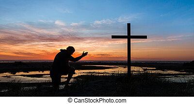 mano, tramonto, preghiera