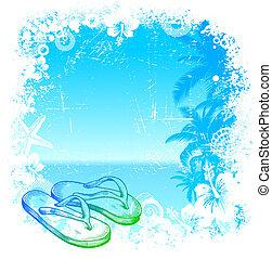 mano, tropical, vector, plano de fondo, dibujado, playa, pantuflas
