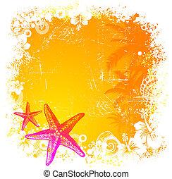 mano, tropical, vector, starfishes, plano de fondo, dibujado