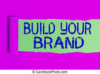 mano, tuo, scrittura, tavola., affari, classico, marca, migliorando, campagne, cartone, legno, foto, testo, equità, brand., sopra, strappato, pubblicità, strappato, esposizione, usando, concettuale, rotolato, costruire