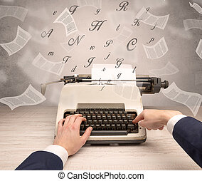 mano, typewriting, con, volare, documenti, intorno