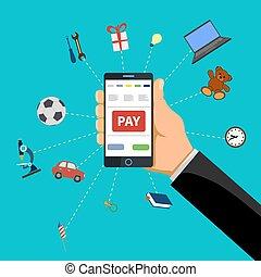 mano umana, prese, far male, telefono, con, pagare, bottone, su, il, screen.