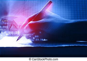 mano umana, scrittura, affari, progresso, su, il, carta