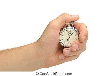 mano uomo, con, uno, cronometro