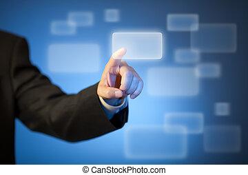 mano, urgente, astratto, virtuale, bottone, su, touchscreen