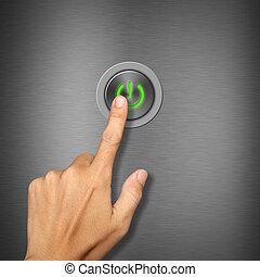 mano, urgente, bottone potere, su, metalic, fondo