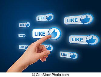 mano, urgente, rete, icona, sociale
