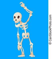 mano., vector, caricatura, esqueleto, plano de fondo, levantar, ilustración, el suyo, divertido, posar, hombre, skeletal., huesudo, character., huesos, muerto, color, humano