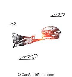 mano, vector., concept., disegnato, isolato, fastfood