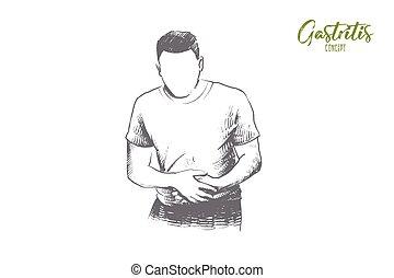 mano, vector., gastritis, concept., dibujado, aislado