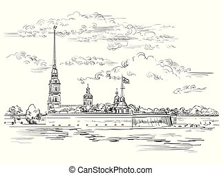 mano, vector, petersburg, 6, c/, dibujo