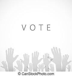 mano, vector, votación, ilustración, señal