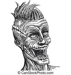 mano, vector, zombi, dibujado