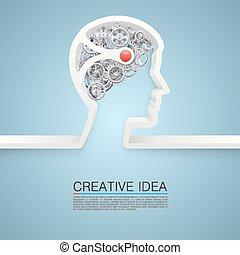 mano., vettore, idea, illustrazione, creativo
