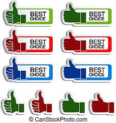 mano, vettore, meglio, scelta, adesivi, gesto