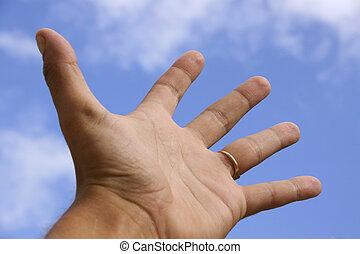 mano, y, cielo