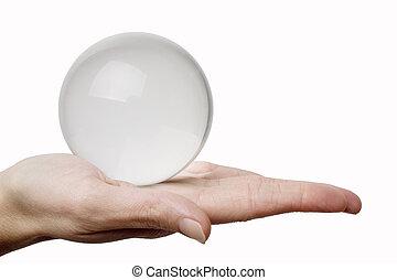 mano, y, cristal, esfera