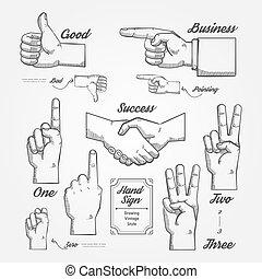 mano, y, dedo, señal, garabato, dibujado, en, pizarra,...