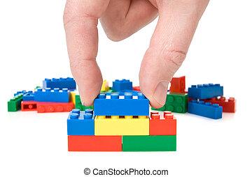mano, y, juguete bloquea