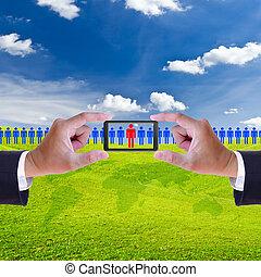 mano, y, móvil, reclutamiento, derecho, hombre, recurso,...