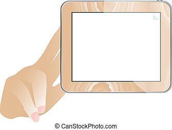 mano, y, tableta, computadora, con, vacío, monitor