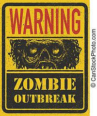 mano, zombi, vector, outbreak., eps8, drawn.