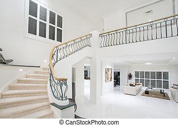 manoir, couloir, luxe