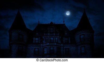 manoir, maison, gothique, nuit