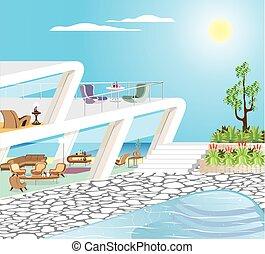 manoir, plage, moderne, vecteur, illustration