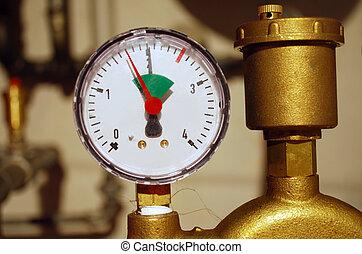 manometer, als, onderdeel van, een, centrale verwarming