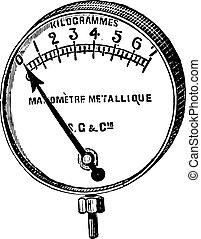 Manometer, Bourdon, a metal ring, vintage engraving.