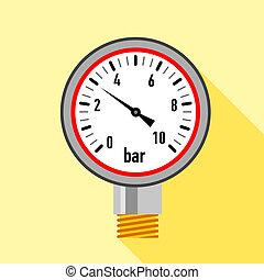 Manometer icon, flat style - Manometer icon. Flat...