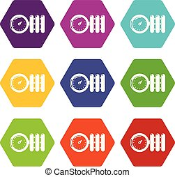 Manometer icons set 9 vector - Manometer icons 9 set coloful...