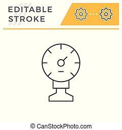 Manometer line icon isolated on white. Editable stroke....