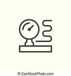 Manometer line icon isolated on white. Vector illustration