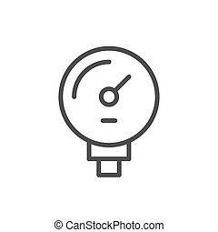Manometer line outline icon and gauge concept
